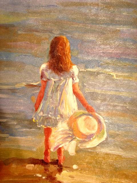 Шелковая картина Девушка у моря описание цена в