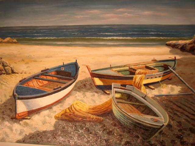 на берегу нарисована лодка